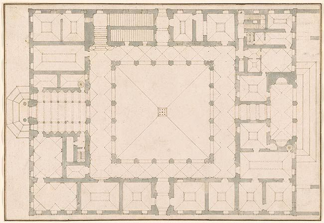 Giovanni Battista Piranesi 1720-1778 Ground Plan of Farnese Palace. Verso: Measured grid for another ground plan?.