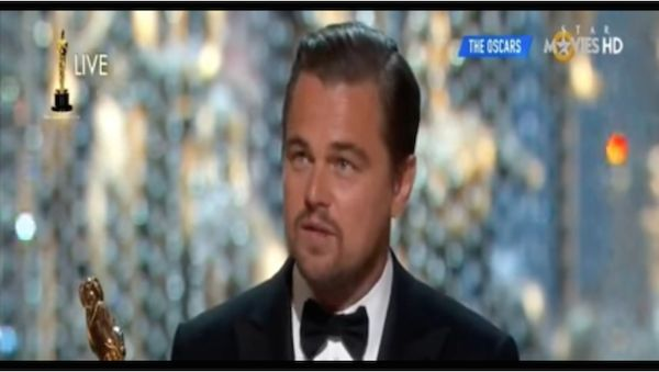 Leonardo DiCaprio uses his Oscar speech to speak out on climate change.