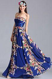 Strapless Flat Neck Floral Dress Printed Dress (07151405)