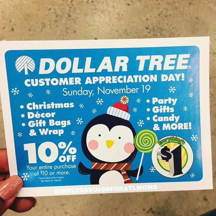 10% off Dollar Tree Event 11.19.17 only (Visit your local stores) http://simplesavingsforatlmoms.net/2017/11/10-off-dollar-tree-event-11-19-17-visit-local-stores.html #Dollar Tree