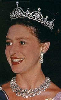 Princess Margaret wearing the Papyrus/Lotus Flower Tiara (also wearing the Teck Circle Tiara as a necklace). Princess Margaret, wore the tiara after the Queen Mother gave it to her in 1959. She wore it most often in her younger years.