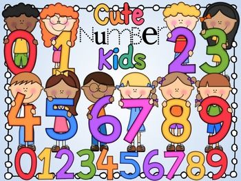 Cute Kids Holding Numbers 0-9 Clipart