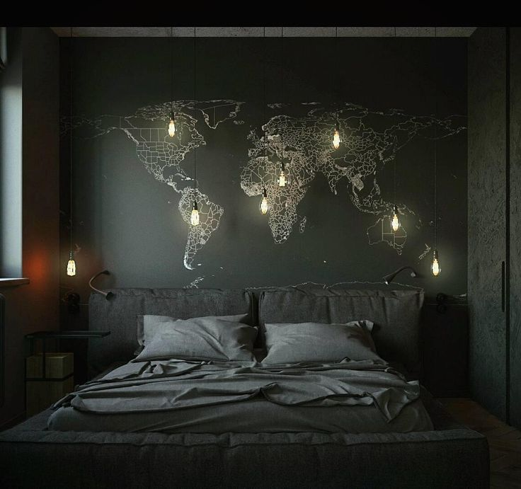 Black & dark cozy bedroom for the classy understated goth / wall map and minimal decor