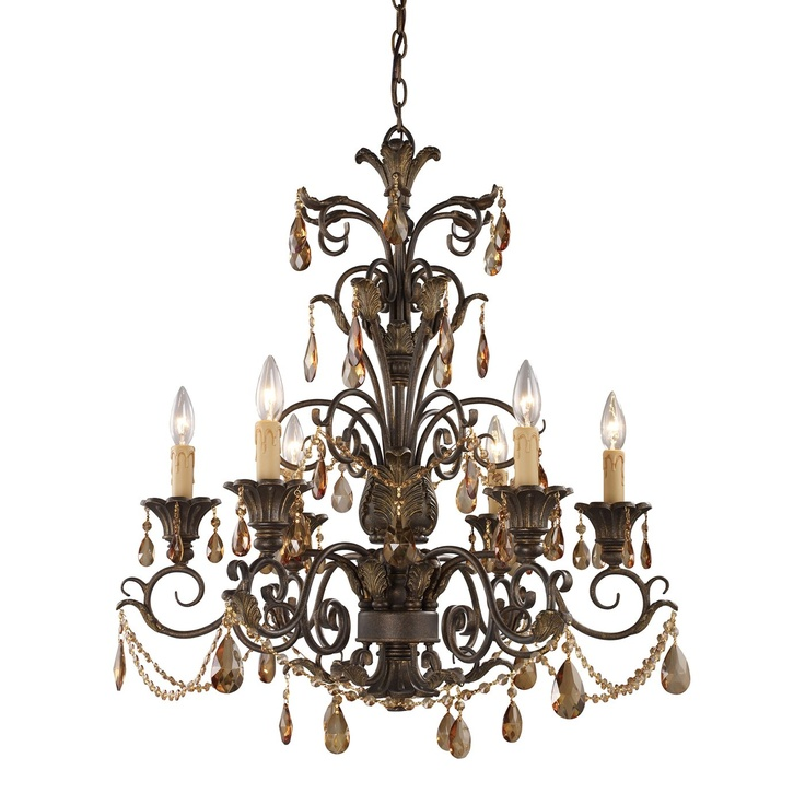 Trump Home By Elk 3344 6 Light Rochelle Chandelier Weathered Mahogany