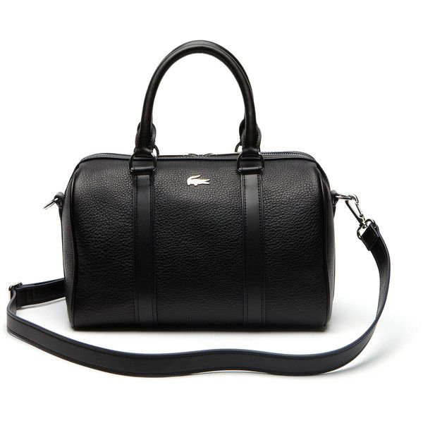 Lacoste Rene Medium Boston Bag In Leather (935 PEN) ❤ liked on Polyvore featuring bags, handbags, shoulder bags, bags bags, leather goods, lacoste, lacoste purse, boston bag, genuine leather shoulder bag and leather purse