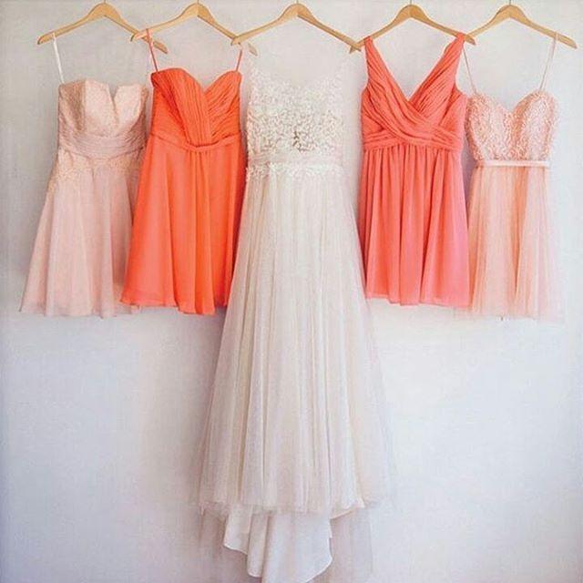 Blush e corallo .insieme al panna dell'abito da sposa...ed è subito estate #lesposedimatilda#bridesmaid#bridaldress http://gelinshop.com/ipost/1523099593926840502/?code=BUjIwLNjRC2