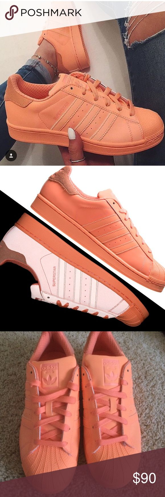 Adidas Superstar Adicolor in Sun Glow Peach MENS SIZE 61/2 WOMENS 8, Super good condition barely worn sun glow peach shell top adidas superstars! Adidas Shoes Athletic Shoes