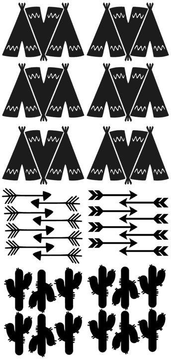Muursticker Indianen/tipi's zwart