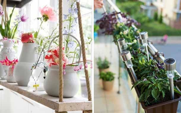 вы можете использовать на балконе небольшие садовые фонари на солнечных батареях. Или сделать такую простую, но оригинальную полку для цветов. На мой взгляд, было бы надежнее, если бы горшки входили в отверстие доски. Хотя, если это пластиковые емкости , их можно надежно приклеить к доске суперклеем.