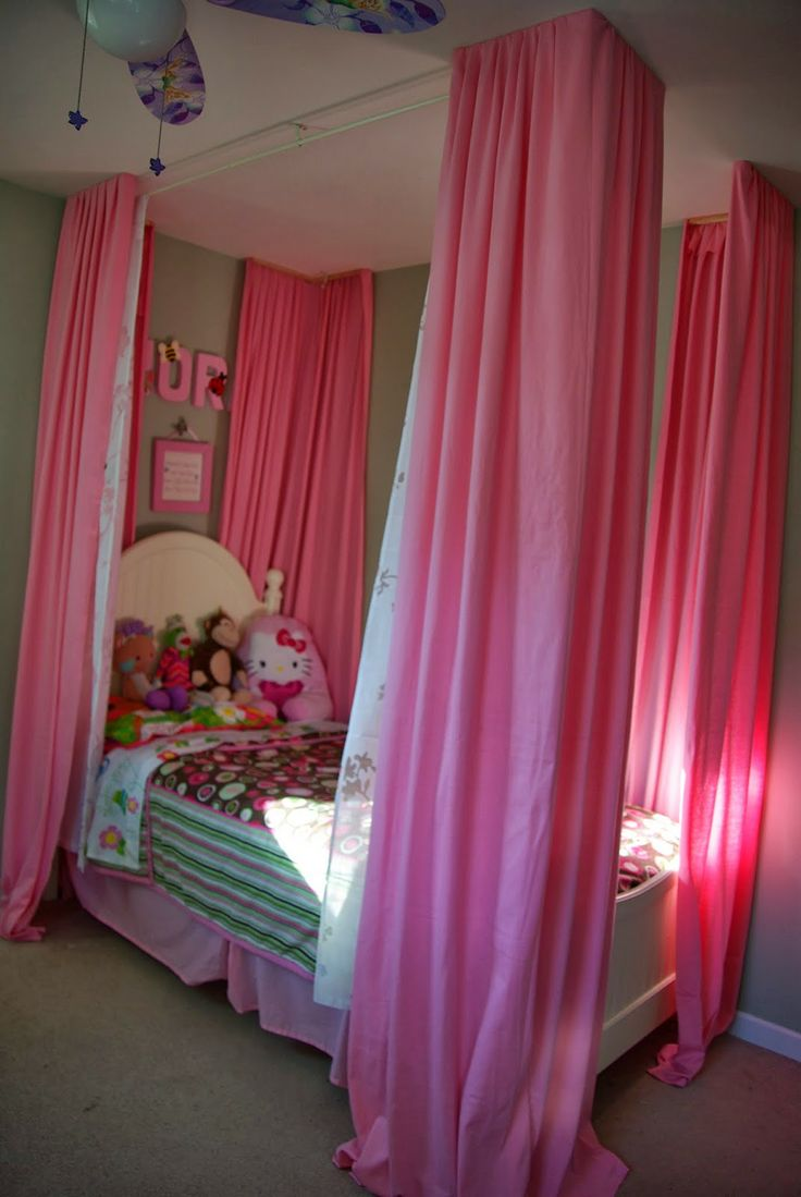 best 20 girls room curtains ideas on pinterest kids room curtains over little girls bed i made curtains from fabric trying to give the illusion of a four porter bed for my daughters bedroom there are pink