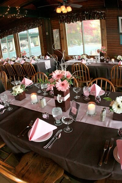 rose pink and brown wedding reception ideas | ... the reception were decorated the same with pink and brown accents tags