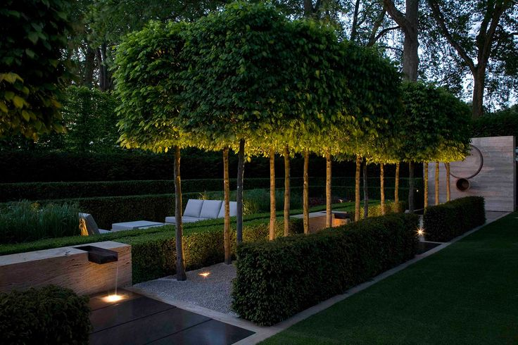 Luciano Giubbilei - Chelsea 2009: Likes: lighting under trees, behind chairs; water feature.