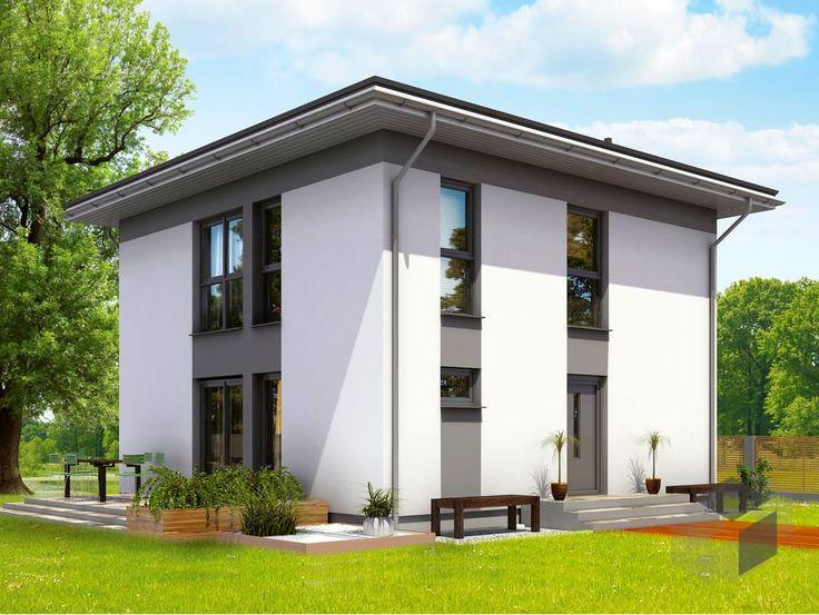 Die Stadtvilla Park 121 W von DAN-WOOD  hat eine Wohnfläche von 115,95 m² verteilt auf 5 Zimmer. Finde eine große Auswahl an weiteren Stadtvillen auf: https://www.fertighaus.de/typen/villa/?utm_source=Pinterest&utm_medium=Pinterest&utm_campaign=Stadtvillen&utm_content=Stadtvillen    #Fertighausde #Stadtvilla #Hausbau #Inspiration #modern #Garten #Hausidee #Walmdach