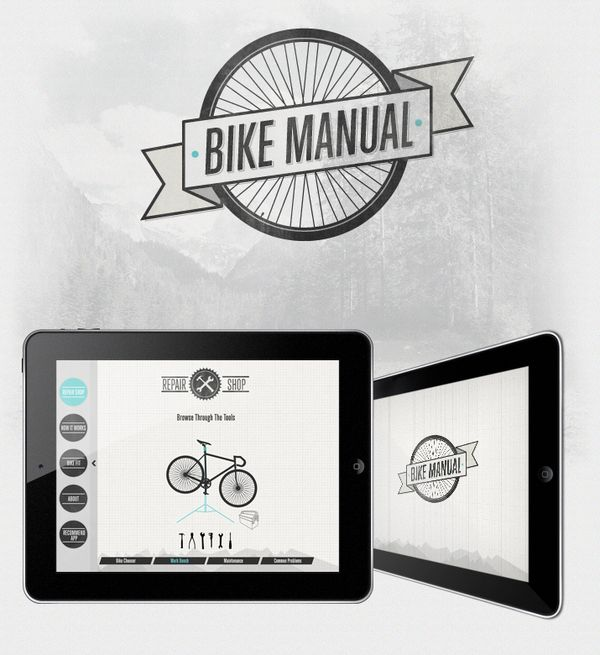 Bike Manual  App Design  Perceptive Data (app programming & development comapny) asked me to design their Bike Manual application for the Ipad.
