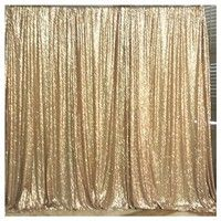 Wish |  5ftx7ft Matte Gold Shimmer Sequin Fabric Photography Backdrop Sequin Curtain for Wedding/ Party