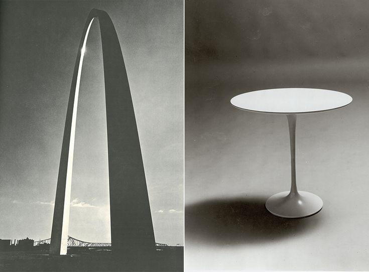 Eero Saarinen: Sculptor of Form | Gateway Arch, 1965 & Saarinen Side Table, 1957 | PC: John T. Hill / Manuscripts & Archives, Yale University Library | Knoll Inspiration