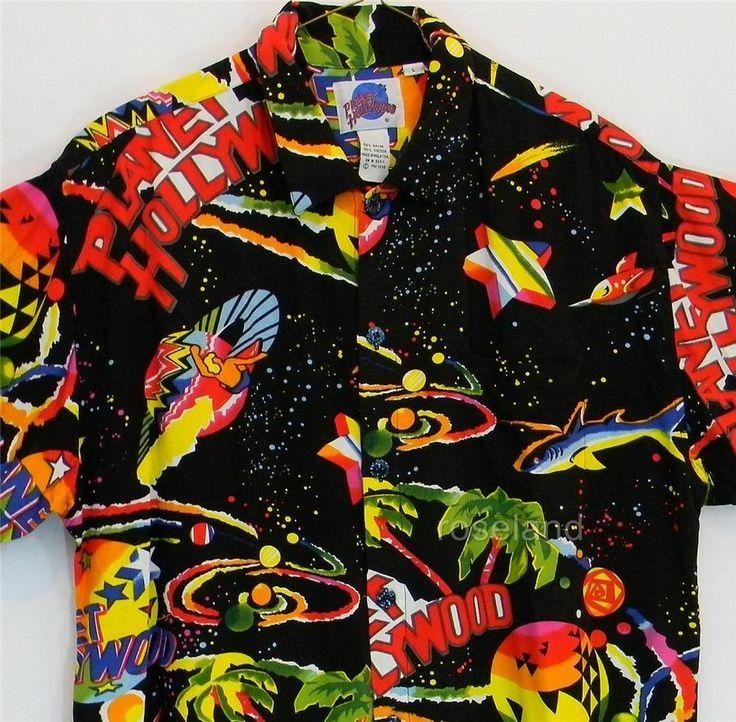 Planet Hollywood Hawaiian Shirt Large Mens Cosmic Space ...