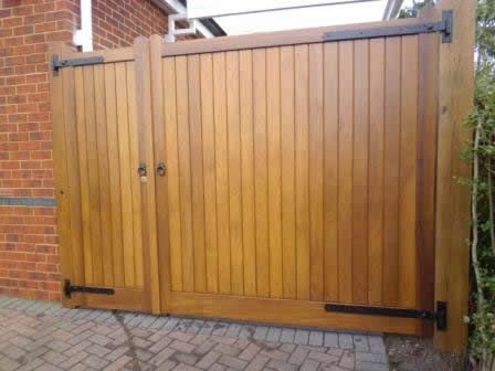 Pair of Gates incorporating Pedestrian Access | BG Wooden Gates - Wooden Driveway Gates