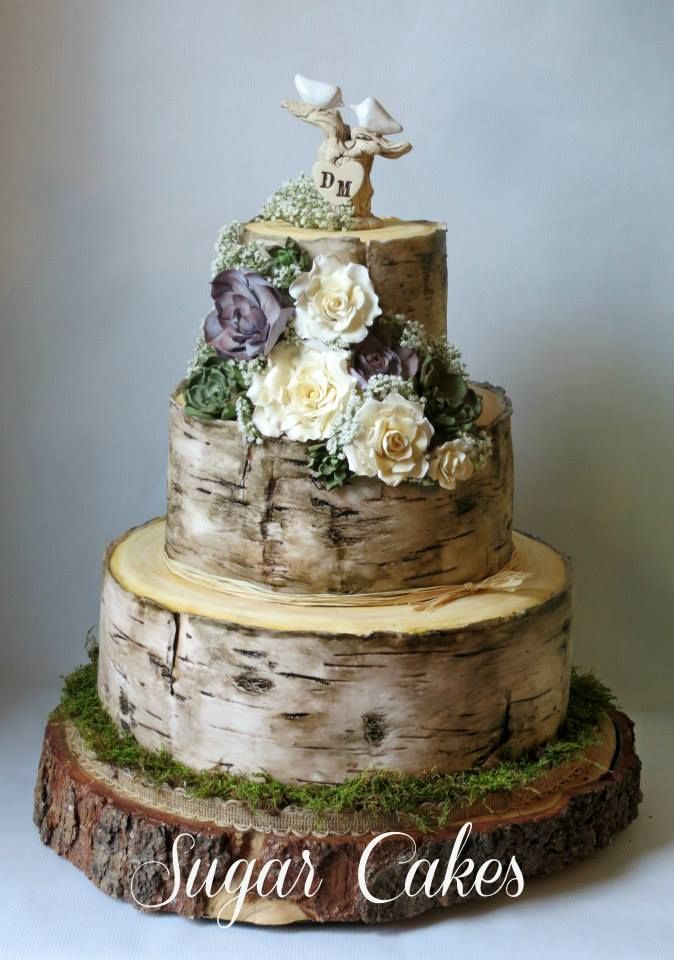 Birch Tree Wedding Cake with Handmade Succulents & Roses