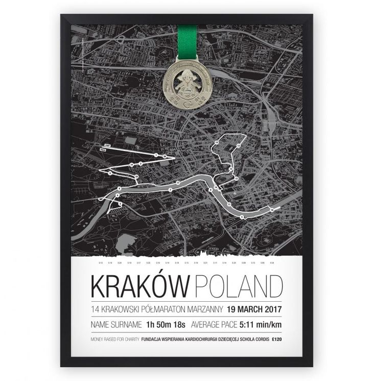 Personalised Run Map from your race or training. Wherever and whenever it was. This Run Map will show the race route with distance markers and race details, which can be customised after purchase. We'll always leave some space for your medal on the top of the map. It's a perfect personalised memento of that special run or gift for someone who's running.