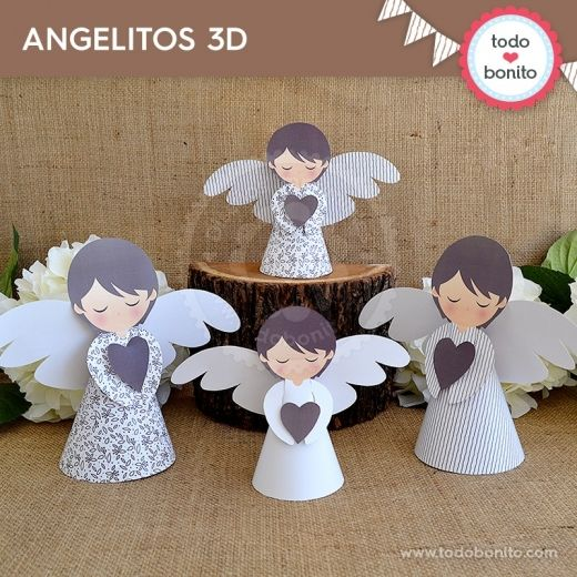 Rústico: angelitos 3D - Todo Bonito