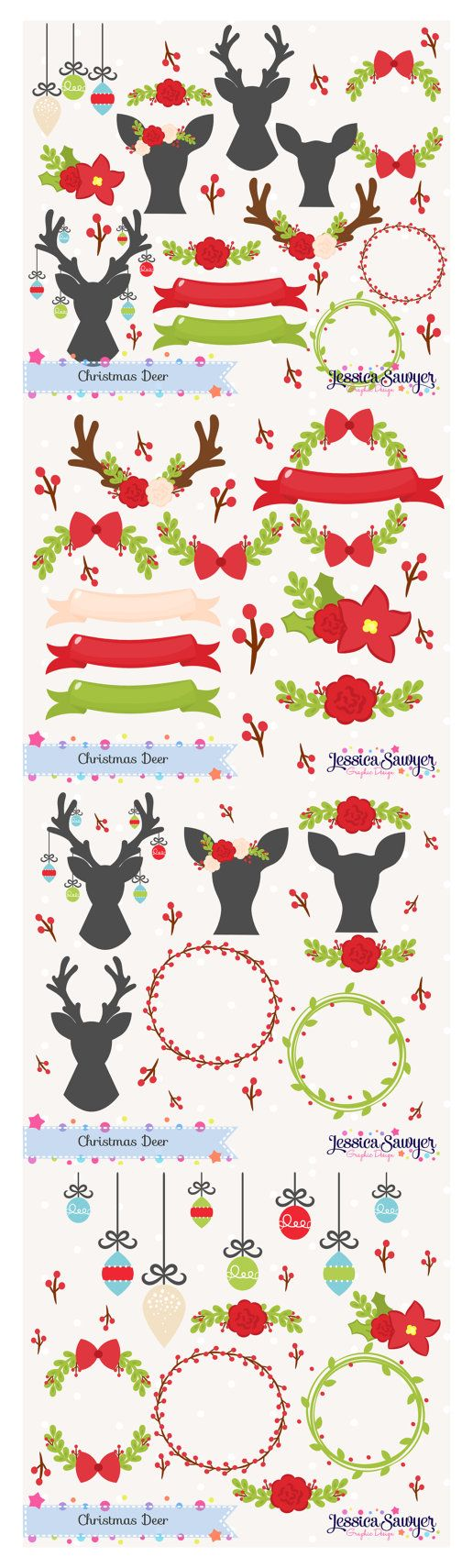 Christmas Clipart and Deer Silhouettes