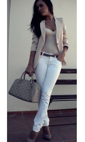 Beige and white... gorgeous.: Outfits, Women S, Fashion, Blazer, Style, Clothes, White Outfit, White Jeans