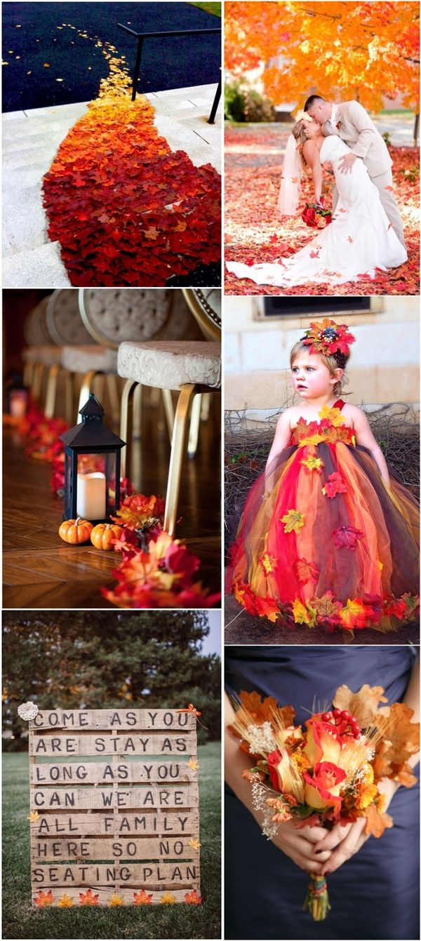 fall wedding theme ideas- autumn leaves wedding decor