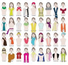 How many ways are there to wear a scarf? A MILLION WAYS.   41 Insanely Helpful Style Charts Every Woman Needs Right Now