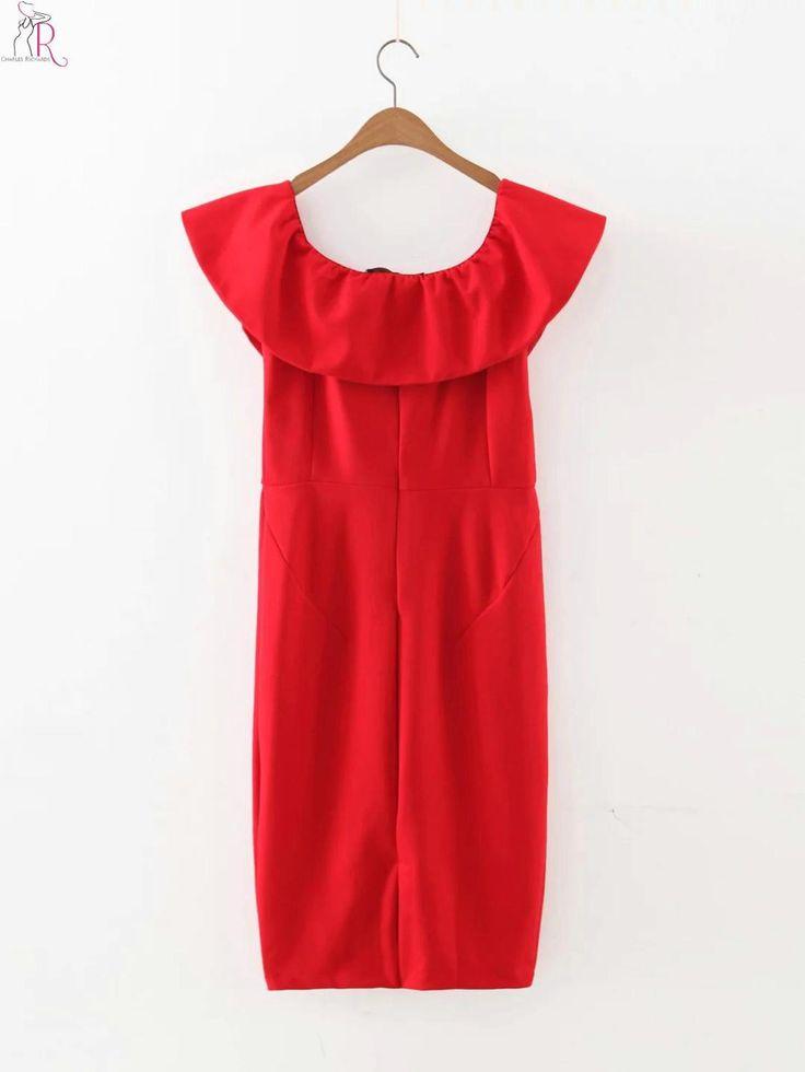 Red Off Shoulder Ruffled Bodycom Midi Dress Sheath Casual Sexy Party Clubwear Women Summer