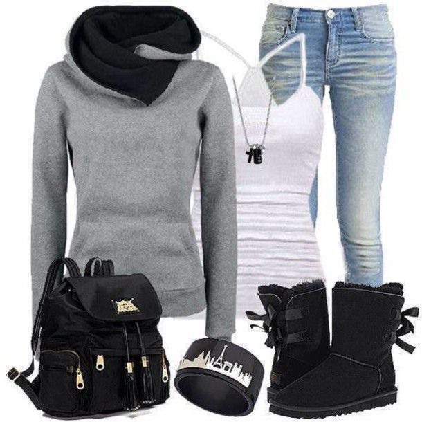 Shoes, black uggs, ugg boots, black boots, comfy, outfit idea, back – School outfits dresses ugg boots
