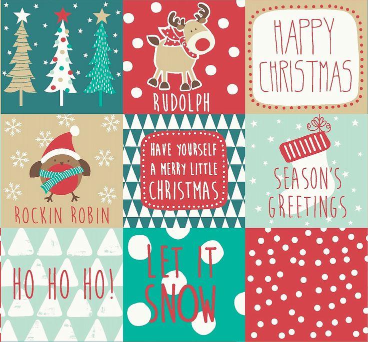 'Ho Ho Ho' Christmas fabric www.fryetts.co.uk