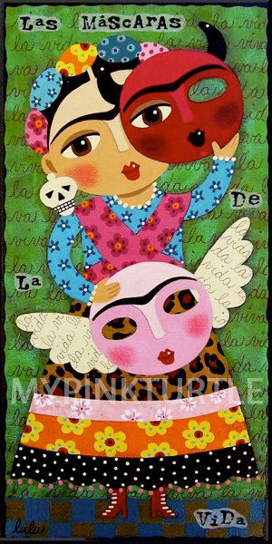 FRIDA Kahlo with Angel and Devil Masks 5 x 10 giclee PRINT of Dia de Muertos Day of the Dead painting by LuLu Mypinkturtle available in my Etsy shop here !  https://mypinkturtleshop.etsy.com