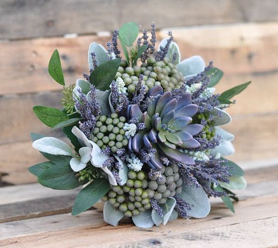 Wedding BouquetFaux Lavender Succulent Dried by Hollysflowershoppe