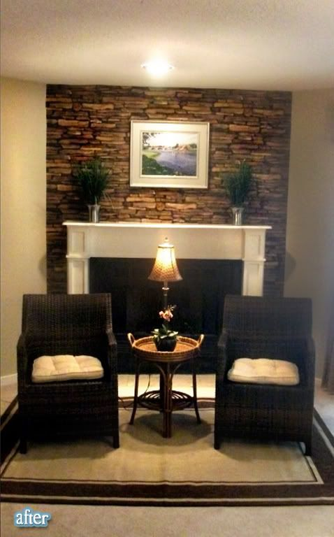 stone wallpaper around fireplace mantle -- love that look