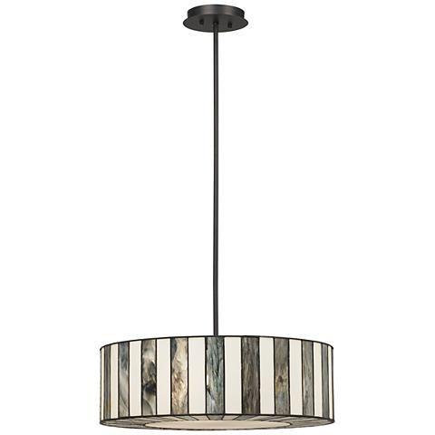 "Tiffany Style 20"" Wide Striped Art Glass Pendant Light - #V9904   Lamps Plus"