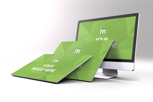 A Creative 3d Mockup For Showcasing Your Website Or App Screenshots A Perspective View Of An Imac Computer Monitor And 2 Website Screenshots Leaning Against It