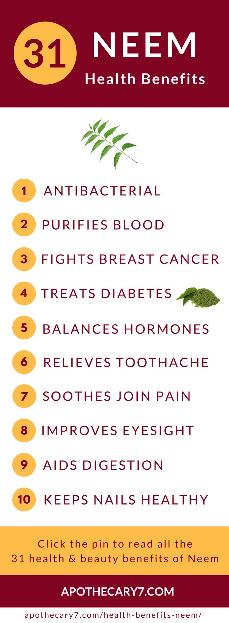 This article is full to bursting with information on the health benefits of Neem. This super herb is an Ayurvedic staples for a reason.