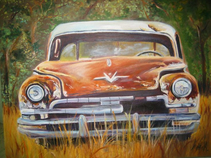 Oil Painting Old Car