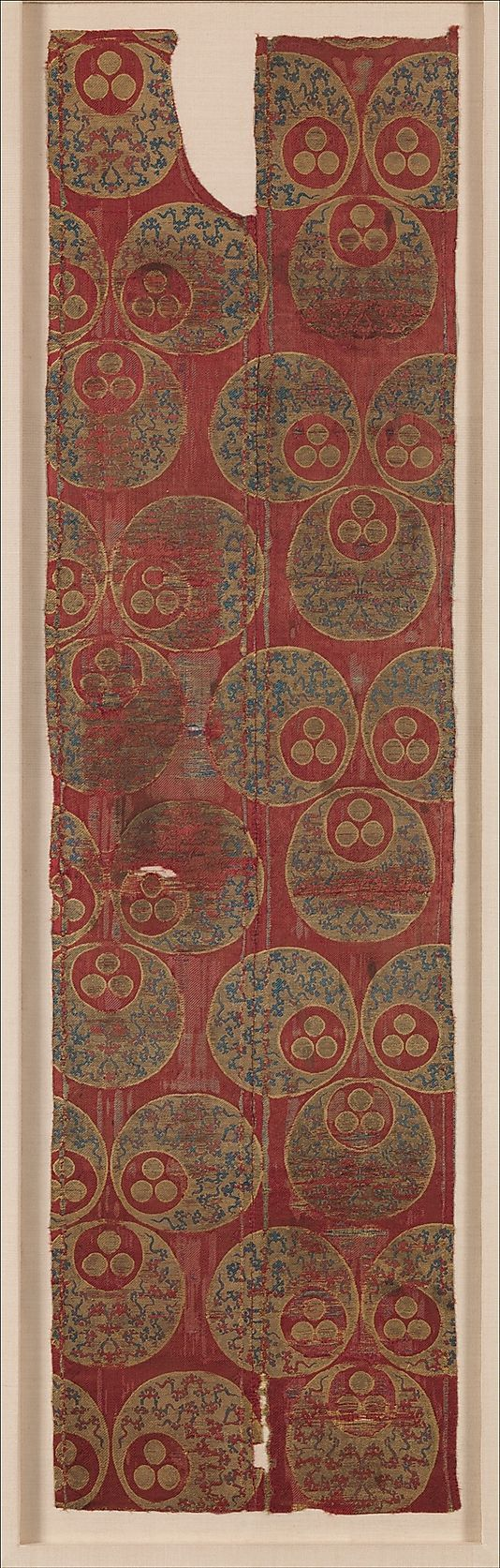 Textile with Large Chintamani Design Object Name: Fragment Date: 16th century Geography: Turkey Medium: Silk, metal wrapped thread; lampas (kemha)