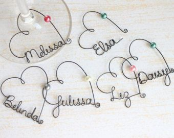 Wire Name Wine Glass Charms - very generic tutorial, but pretty self…