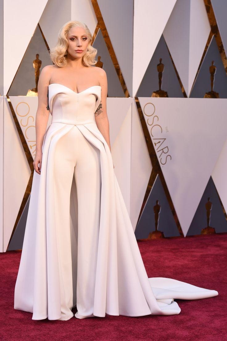 Lady Gaga wears custom Brandon Maxwell on the 2016 Oscars Red Carpet