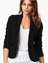 Women's Black Blazer , Casual/Work/Plus Sizes Lon... – USD $ 12.99