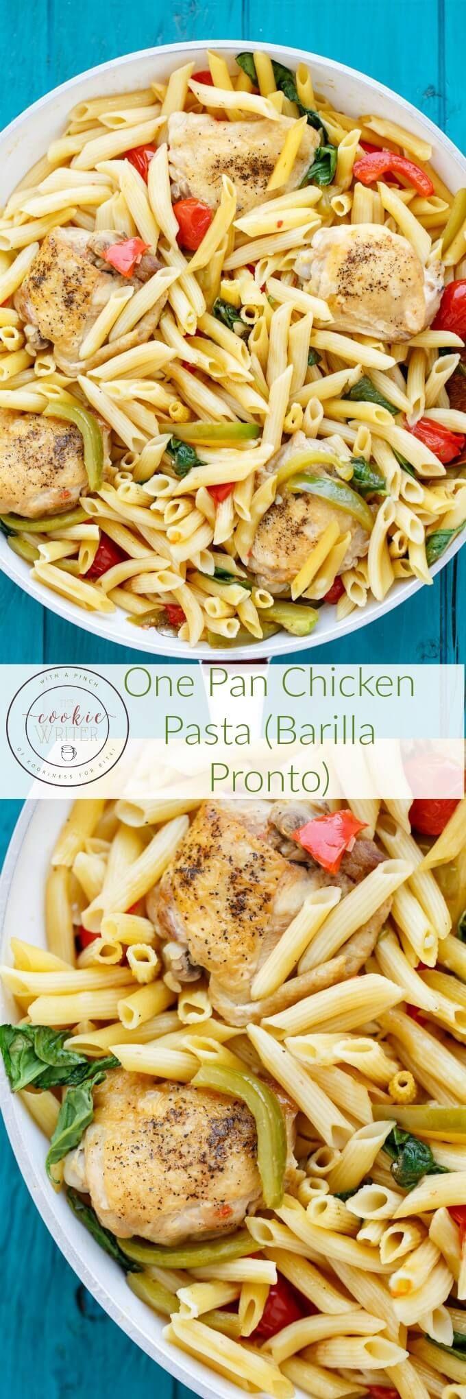 One Pan Chicken Pasta using Barilla Pronto Pasta | http://thecookiewriter.com | @thecookiewriter | #pasta (ad)