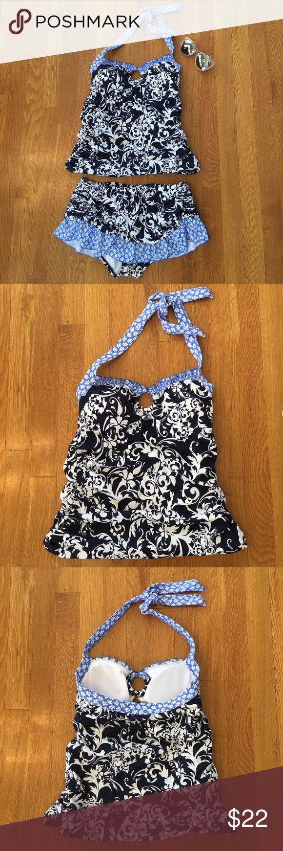 24th and Ocean Tankini S EXCELLENT condition! Worn one time! Navy and white filigree with light blue ruffle trim with flowers. Removable pads in top. 24th & Ocean Swim