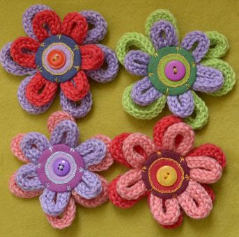 french knitted flowers More