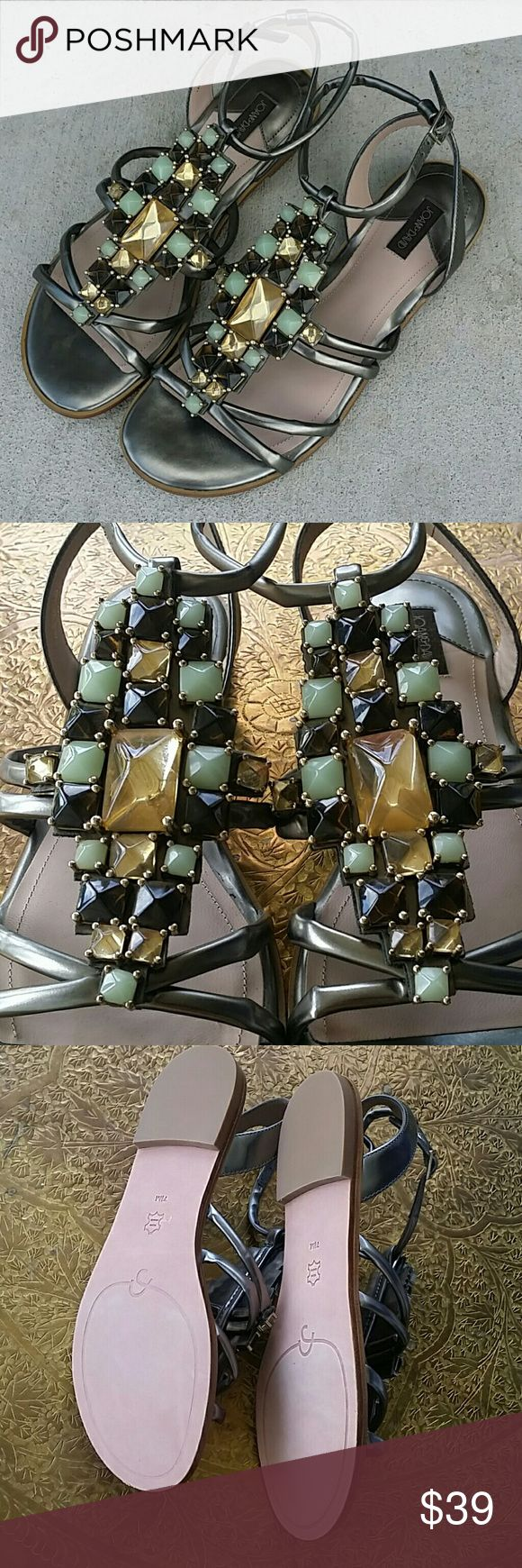 Joan & David Kadison Sandals Size 7 NEVER WORN  Madison jeweled sandals Beautiful topaz and jade colored stones on a gunmetal silver gladiator style sandal. Joan & David Shoes Sandals