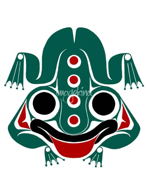 """""""Messenger Frog  hlkyan"""" by Lon French, Victoria // Spring  New Life, Stability. Frog is a symbol of prosperity, considered friendly as it is said he warns humans of imminent danger. Communicator with beings from both worlds, and serves as a mediator. In Haida culture, the Frog is often shown on House posts because it is bel... // Imagekind.com -- Buy stunning fine art prints, framed prints and canvas prints directly from independent working artists and photographers."""