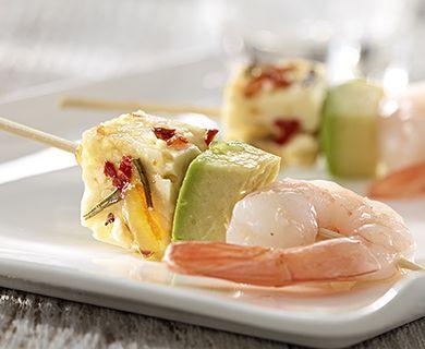 Orange Rosemary Baked Feta Bites with Shrimp, Avocado and Tre Stelle Cheese #appetizer #shrimp