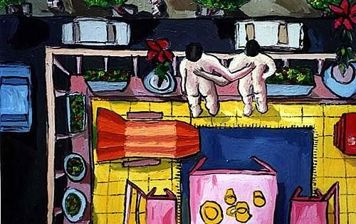 """raphael perez, """"gay couple on the balcony - queer artist raphael perez"""" With a…"""
